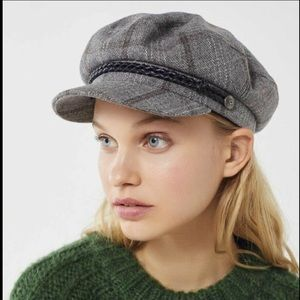 Brixton Lieutenant Engineer Hat Plaid gray brown